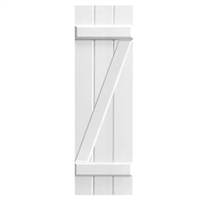 White Unpainted Sample Z Batten Composite PVC Exterior Shutter