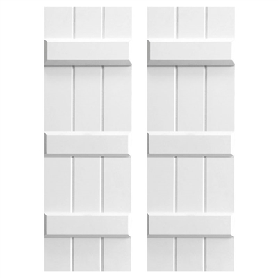 3-Batten Board and 3-Batten Composite PVC Shutter Pair With Three Cross Members