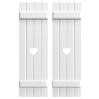 Board and Batten composite pvc exterior shutters with custom cutouts