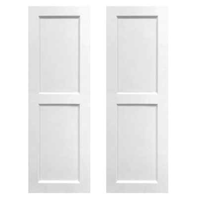 Pair of White Unpainted Flat Panel Composite PVC Exterior Shutters