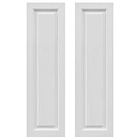 Pair of White Unpainted Frame Panel Composite PVC Exterior Shutters