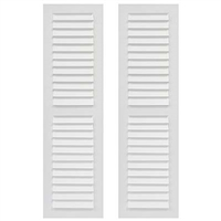 Pair of White Unpainted Louver Composite PVC Exterior Shutters