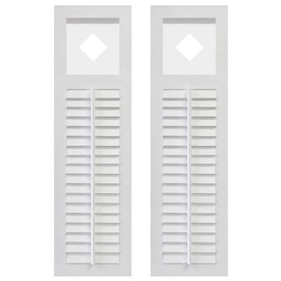 Pair of White Unpainted Louver Composite PVC Exterior Shutters with Cutout