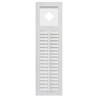 White Unpainted Sample Louver With Cutout Composite PVC Exterior Shutter