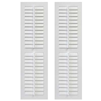Pair of White Unpainted Louver Composite PVC Exterior Shutters with Fixed Tilt Bar