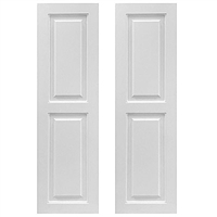 Pair of White Unpainted Raised Panel Composite PVC Exterior Shutters