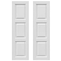 Pair of White Unpainted 33/33/33 Raised Panel Composite PVC Exterior Shutters