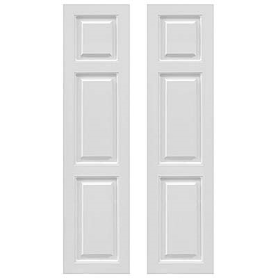 Pair of White Unpainted Transom Raised Panel Composite PVC Exterior Shutters