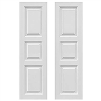 Pair of White Unpainted Raised Panel 40/20/40 Composite PVC Exterior Shutters