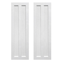 Pair of White Unpainted Split Panel Composite PVC Exterior Shutters