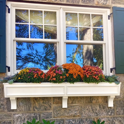 SALE  Made to  order tapered front Window flower boxes deck planters railing planters no rot maintenance free white cellular pvc  size 18