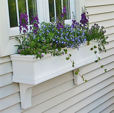 "48"" Self Watering Charleston PVC Window Box - No Rot with 2 FREE Brackets"