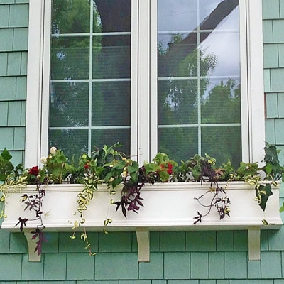"60"" Self Watering Charleston PVC Window Box - No Rot with 3 FREE Brackets"