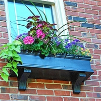 "24"" Charleston Black PVC Window Box - with 2 FREE Brackets"