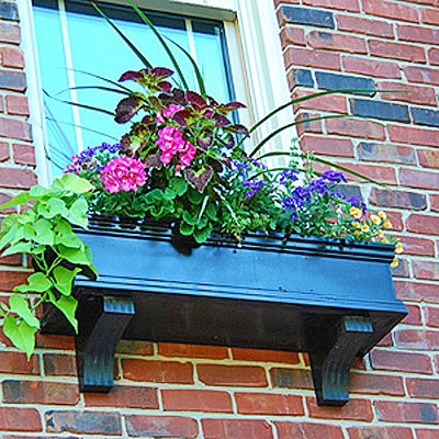 "42"" Charleston Self Watering Black PVC Window Box - No Rot"