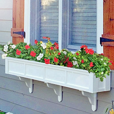 "66"" Daisy No Rot Self Watering PVC Window Box With Vertical, Horizontal And Corner Trim"