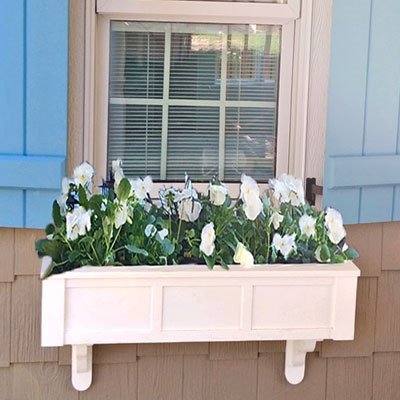 "42"" Daisy No Rot Self Watering PVC Window Box With Vertical, Horizontal And Corner Trim"