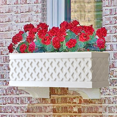 "42"" Lattice Self Watering PVC Window Box"