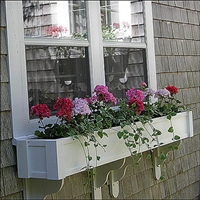 "24"" Shaker No Rot Self Watering PVC Window Box With Vertical, Horizontal, Corner Trim and 2 FREE Brackets"