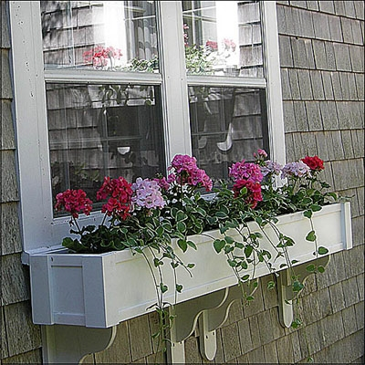 "48"" Shaker No Rot Self Watering PVC Window Box With Vertical, Horizontal, Corner Trim and 2 FREE Brackets"
