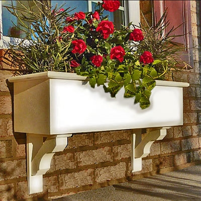 "38"" Cunningham Self Watering No Rot PVC Window Box With Craftsman Brackets"
