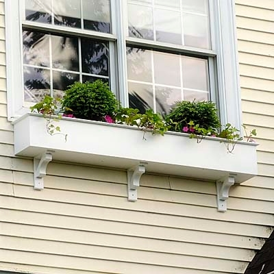 "96"" Cunningham Self Watering No Rot PVC Window Box With Craftsman Brackets"