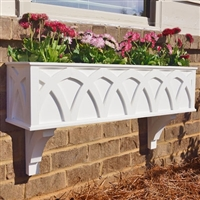 "48"" X Pattern PVC Window Box Planter/Flower Box with 2 FREE Brackets"