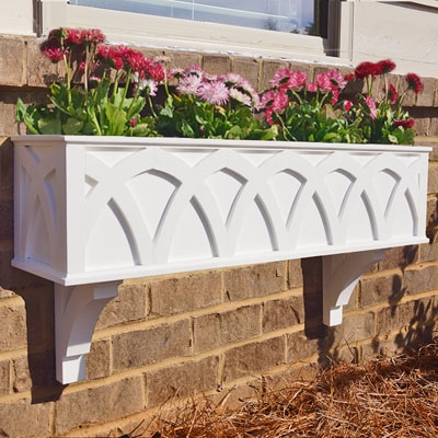"24"" X Pattern PVC Window Box Planter/Flower Box with 2 FREE Brackets"