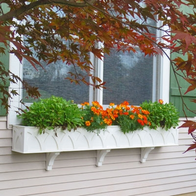 "96"" X Pattern PVC Window Box Planter/Flower Box"