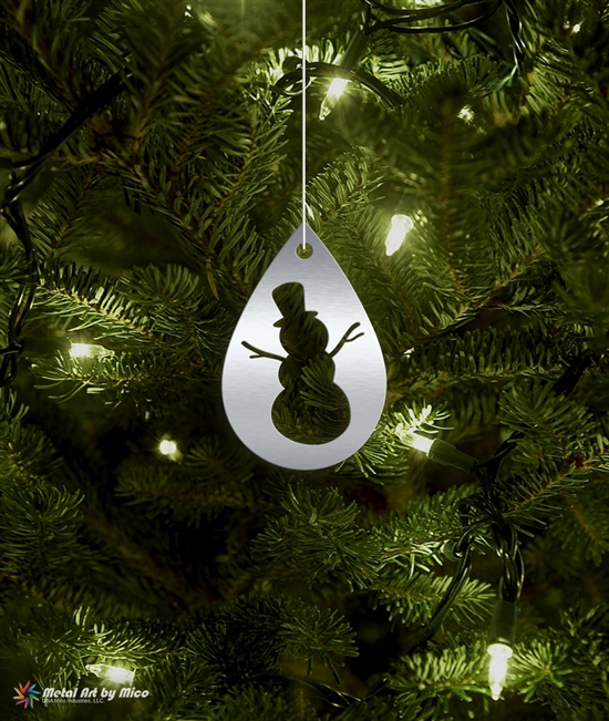 Metal Snow Man Silhouette Tree Ornament