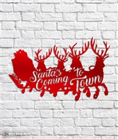 Santa's Coming To Town Metal Sign