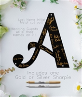 Metal Wedding Guest Last Name Initial