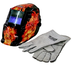 Lincoln Dark Fire Auto Darkening Helmet with Gloves - K2799-1
