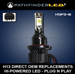 H13 HI/LO - 6000LM - LED HEADLAMP BULB REPLACEMENT - PLUG N PLAY
