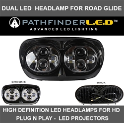 DUAL LED HEADLAMP FOR ROAD GLIDE - BLACK OR CHROME