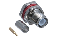 RP TNC Female Bulkhead Crimp Connector - RG58 RG141 & LMR-195