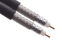 Dual RG6 - Dual Shield - CCS - Coax Cable - Black - Per FT
