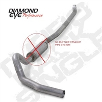 "Diamond Eye 4"" Down Pipe Back Aluminized Steel Less Muffler Exhaust for 2001-2010 Duramax Diesel Engines"