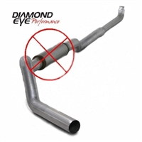 "Diamond Eye 5"" Down Pipe Back 409 Stainless Steel Exhaust Less Muffler for 2001-2010 Duramax Diesel Engines"
