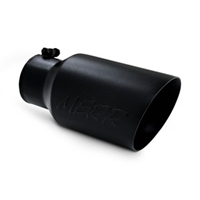 "MBRP 4x6"" Black Coated T-304 Stainless Steel Diesel Dual Wall Exhaust Tip Angle Cut"