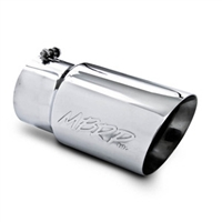 "MBRP 5x6"" Polished T-304 SS Diesel Exhaust Tip, Dual Wall, Angle Cut"