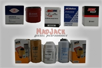 Photo of choices of filters for the MadJack Diesel Performance 6.6L Duramax Diesel Engine Maintenance Package