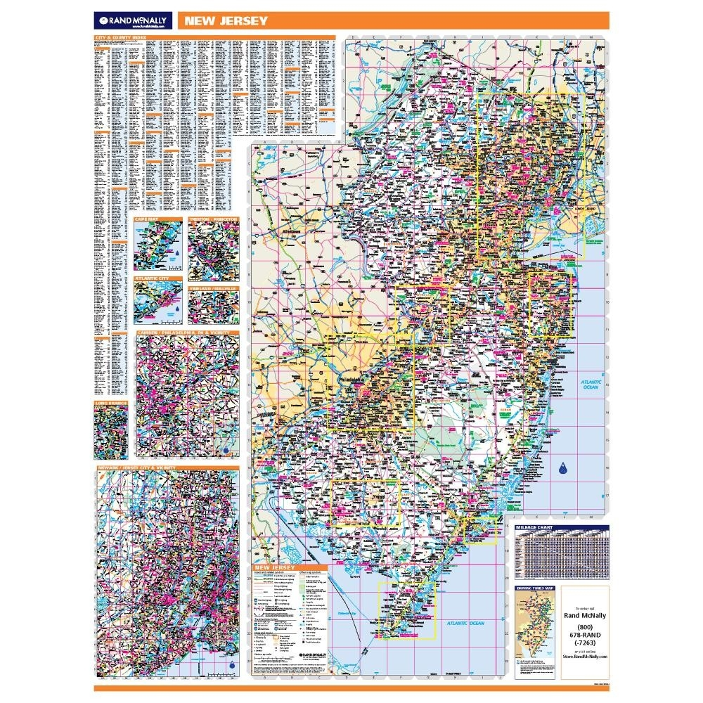 New Jersey Laminated State Wall Map - Laminated state wall maps