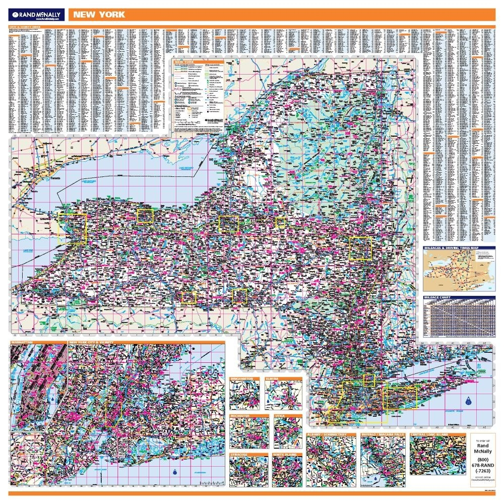 New York Laminated State Wall Map