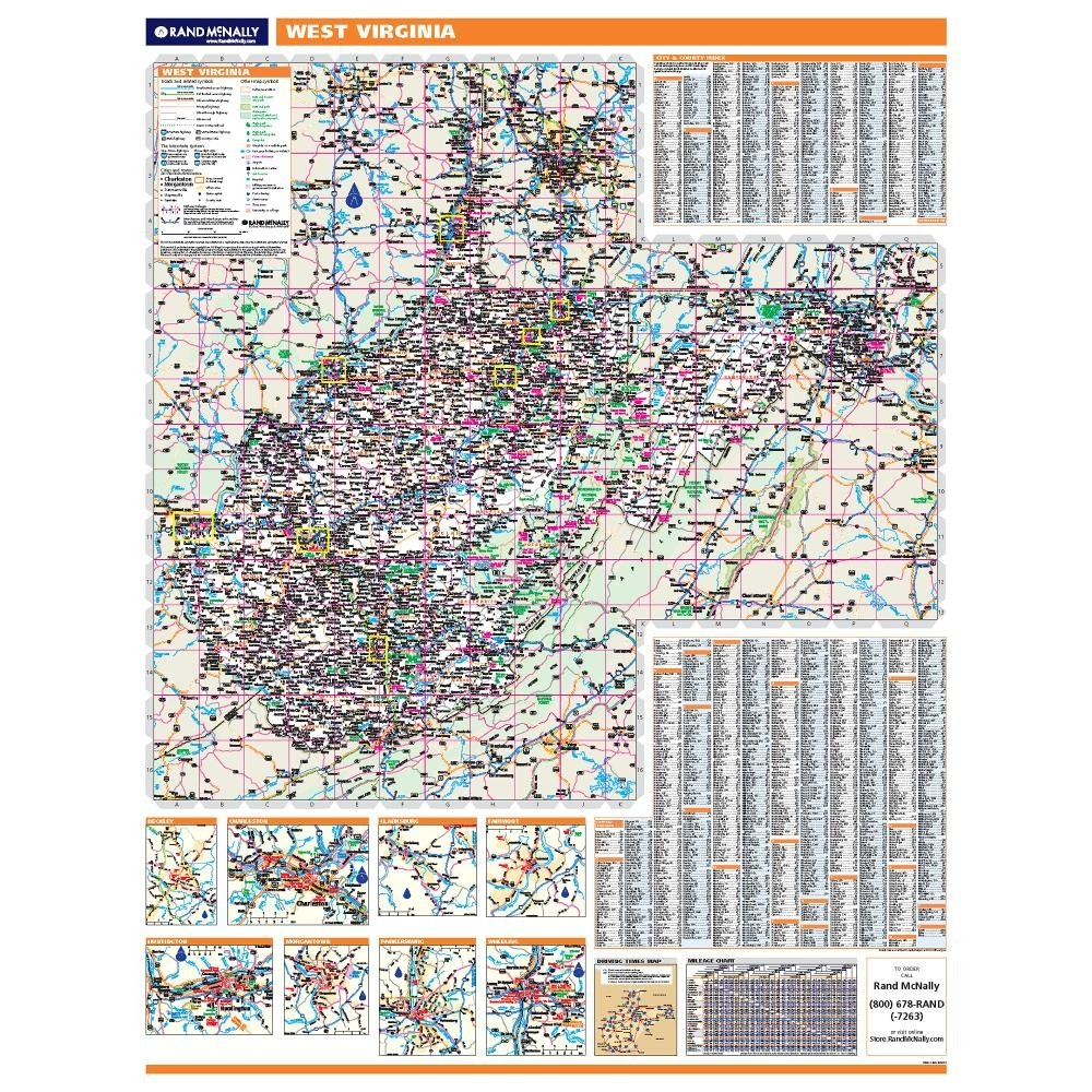 West Virginia Laminated State wall map