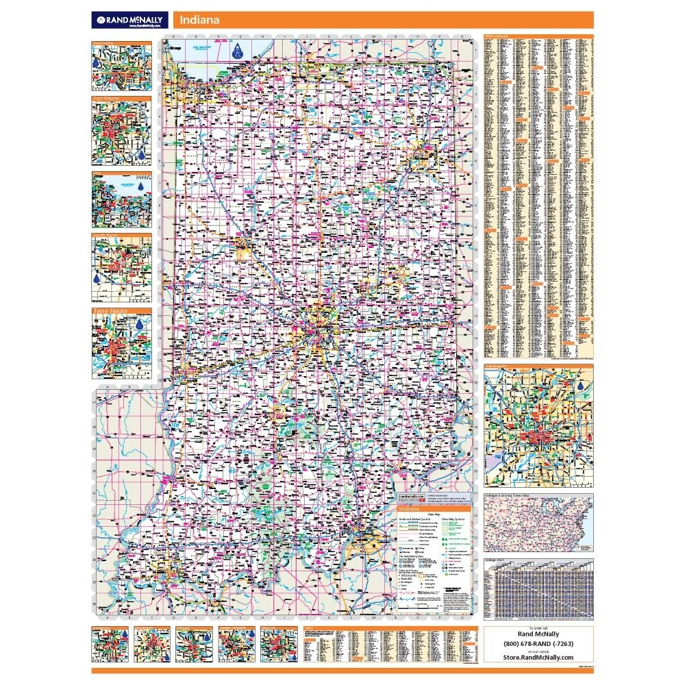 Indiana Laminated State Wall Map