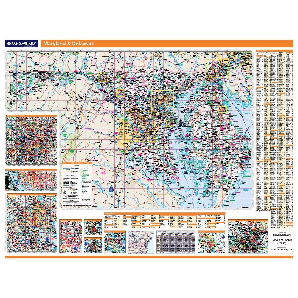 Maryland - Delaware Laminated State wall map