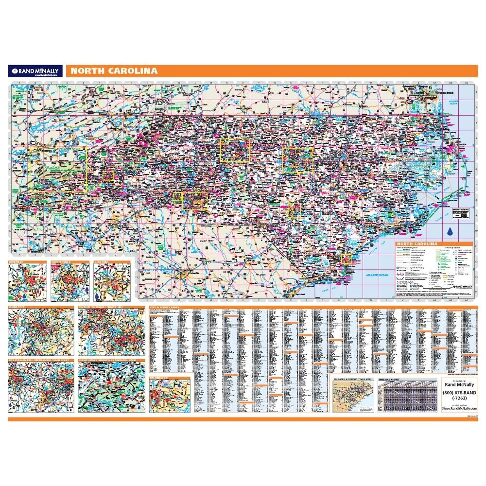 North Carolina Laminated State Wall Map - North carolina road map