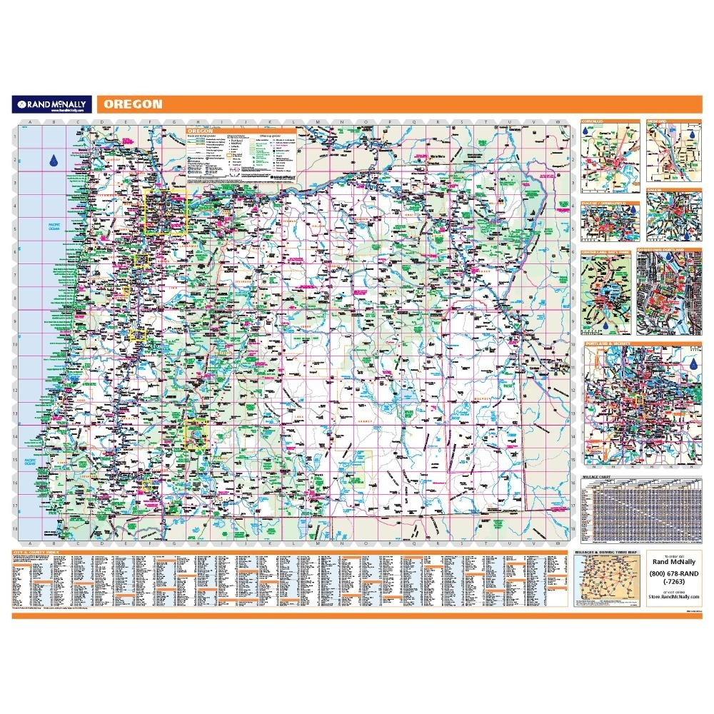 Oregon Laminated State Wall Map - Map of oregon highways