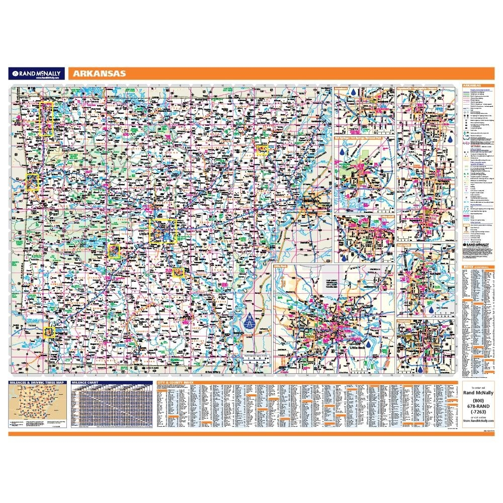 Arkansas Laminated State wall map